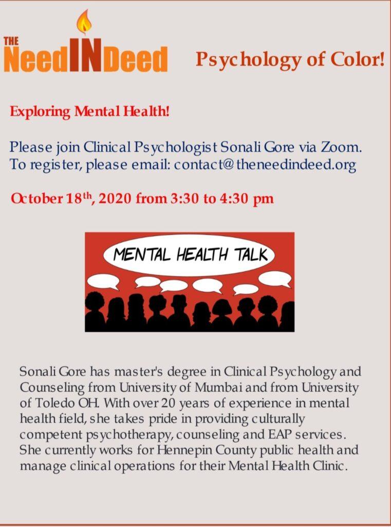 Past Mental Health Workshops TheNeedIndeed
